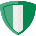 flag, nigeria, shield icon