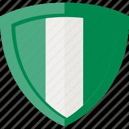 flag, nigeria, shield icon