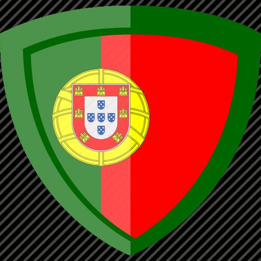 flag, portugal, shield icon