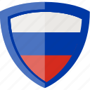 flag, russia, shield icon