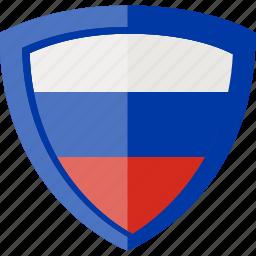 flag, russia, shield icon