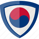 flag, korea republic, shield, south korea icon