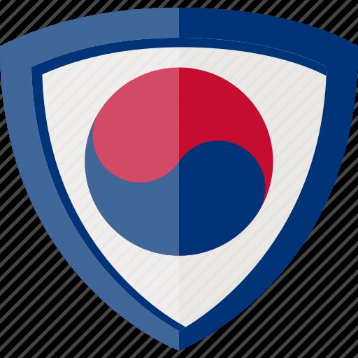 flag, korea republic, shield, south korea icon