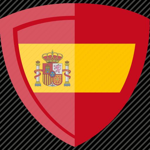 flag, shield, spain icon