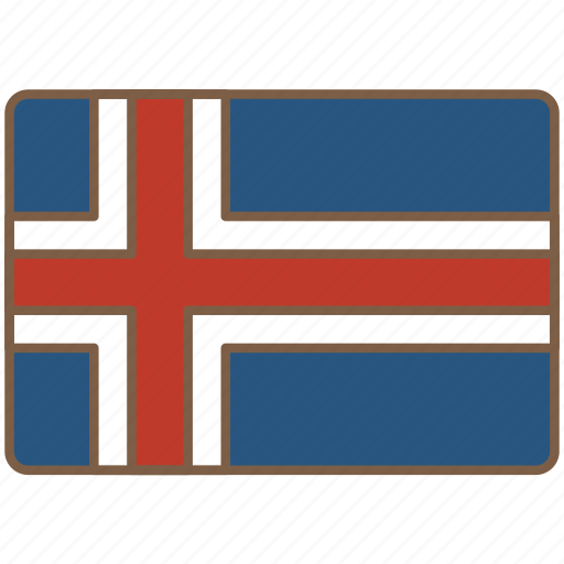 country, flag, iceland, international icon