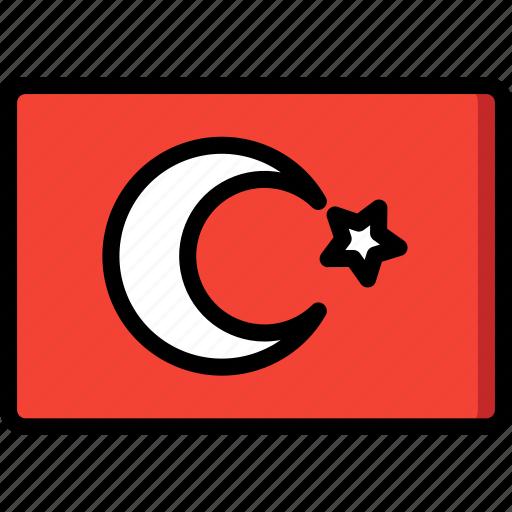 country, flag, international, turkey icon