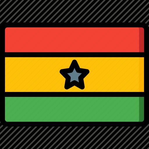 country, flag, ghana, international icon