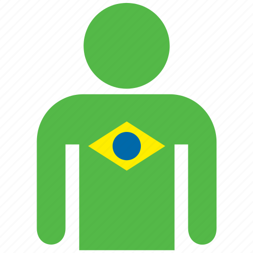 avatar, brazil, brazilian, country, flag, flags, shirt icon