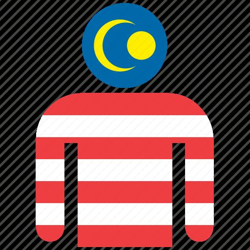 country, flag, flags, malaysia, malaysian, man, shirt icon