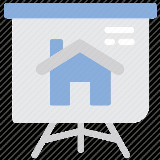 blackboard, house, plan, presentation icon