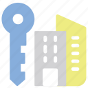 accomodation, apartment, house, key icon
