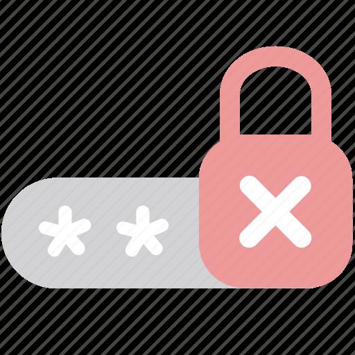 access, denied, passcode, password, permission, secret, wrong icon