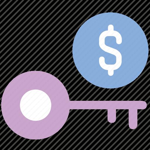 dollar, finance, key, key to success, money, success icon
