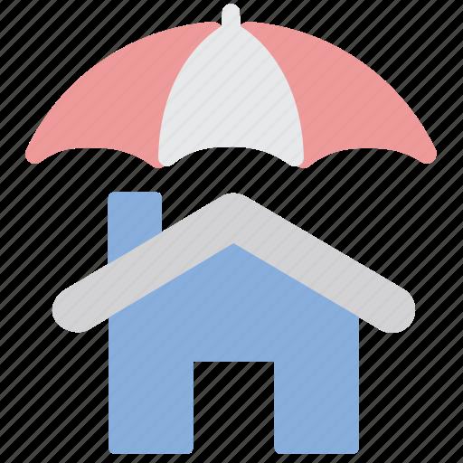 home insurance, house, protection, safe, shield, umbrella icon