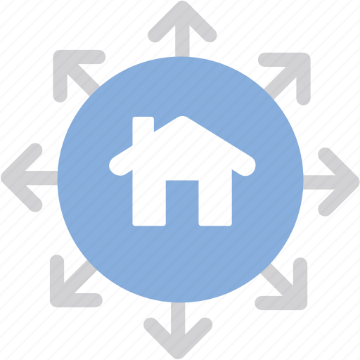 Home, arrows, exchange icon