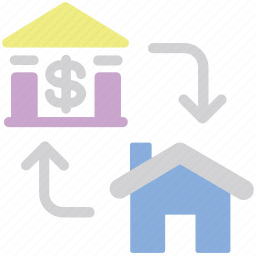Finance, business, house, transfer, property, bank icon