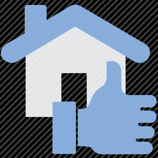 feedback, house, property, thumb up icon