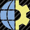 earth, gear, global, settings, world icon