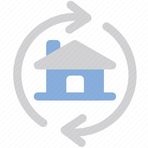 Home, arrows, exchange icon