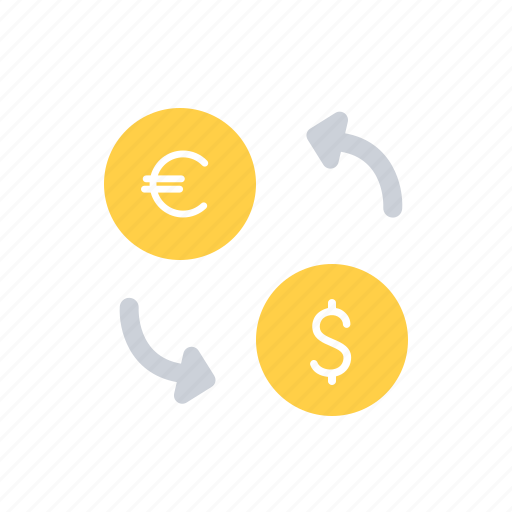 currency, currency exchange, dollar, euro, exchange, transformation icon