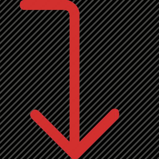 arrow, down, level icon