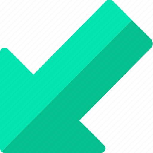 arrow, down, left, lower icon