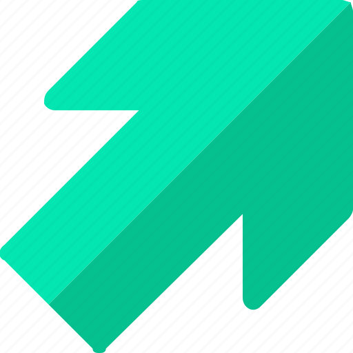 arrow, right, up, upper icon