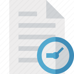clock, document, file, page, paper icon
