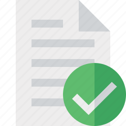 document, file, ok, page, paper icon