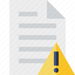 document, file, page, paper, warning icon