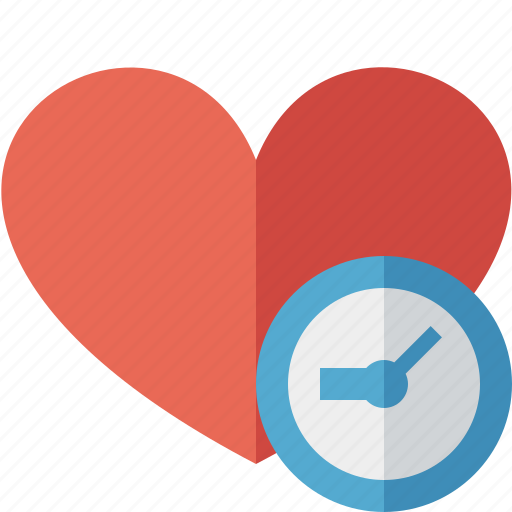 clock, favorites, heart, love icon