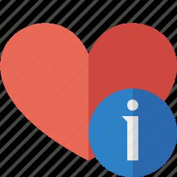 favorites, heart, information, love icon