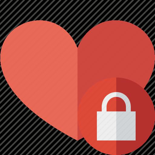 favorites, heart, lock, love icon
