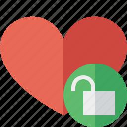 favorites, heart, love, unlock icon