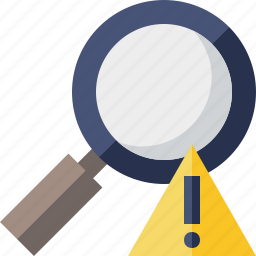 explore, find, magnifier, search, view, warning, zoom icon