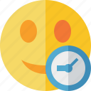 clock, emoticon, emotion, face, smile