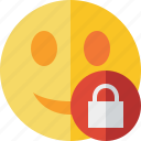emoticon, emotion, face, lock, smile