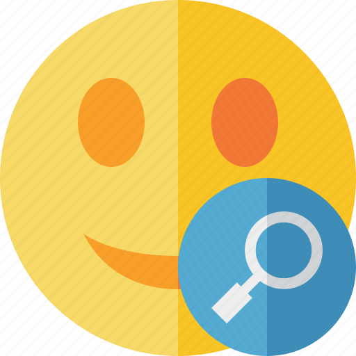 emoticon, emotion, face, search, smile icon