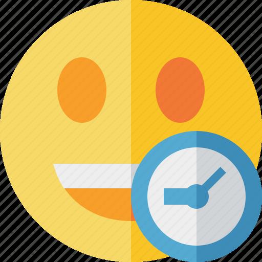 clock, emoticon, emotion, face, laugh, smile icon
