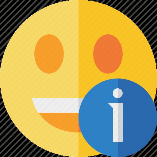 emoticon, emotion, face, information, laugh, smile icon