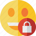 emoticon, emotion, face, laugh, lock, smile icon