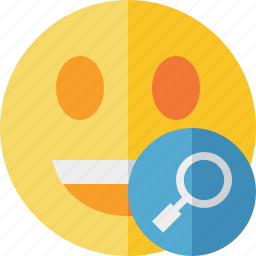 emoticon, emotion, face, laugh, search, smile icon