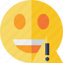 emoticon, emotion, face, laugh, smile, warning icon