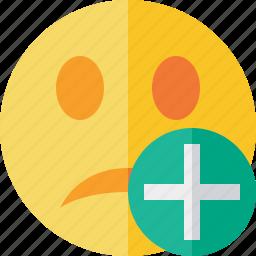 add, emoticon, emotion, face, smile, unhappy icon