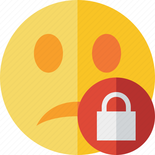 emoticon, emotion, face, lock, smile, unhappy icon
