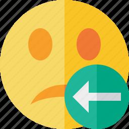 emoticon, emotion, face, previous, smile, unhappy icon