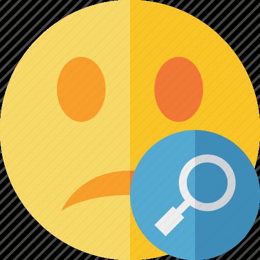 emoticon, emotion, face, search, smile, unhappy icon