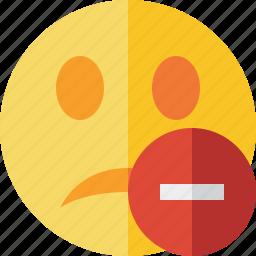 emoticon, emotion, face, smile, stop, unhappy icon