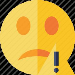 emoticon, emotion, face, smile, unhappy, warning icon