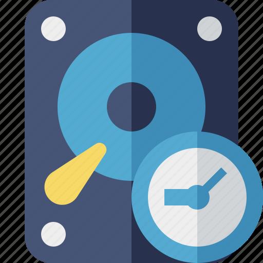 clock, data, disk, drive, hard, hdd, storage icon